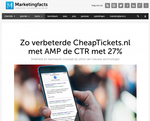 Artikel Marketingfacts: AMP CheapTIckets.nl