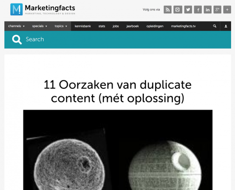 Artikel Marketingfacts.nl: Duplicate Content