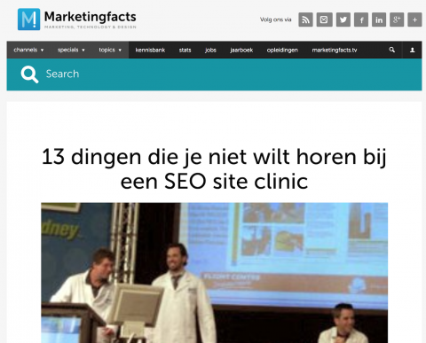 Artikel Marketingfacts.nl: SEO Site Clinic